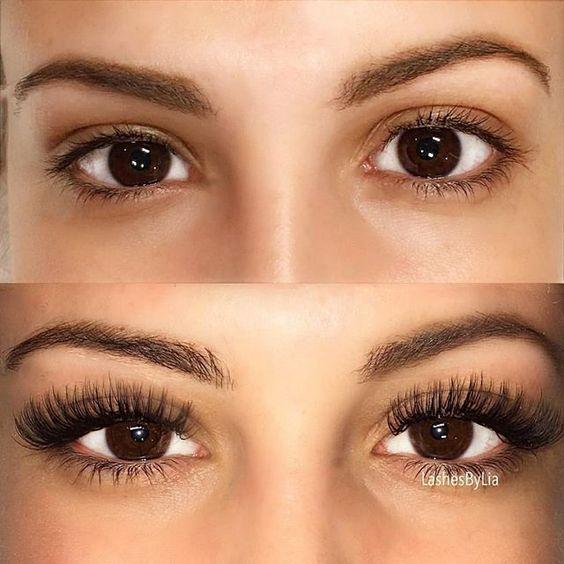 Rzęsy przedłużane u kosmetyczki, przed i po